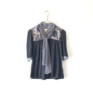 TINY xs 3/4 sequins flowers neck tie bow top shirt